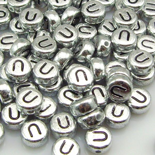 Silver Alphabet Beads: 100 PCS 7 MM Silver Alphabet Letter Acrylic Spacer Beads