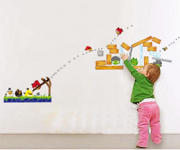 Angry birds wall stickers mural art decal wallpaper decor for Angry bird wall mural