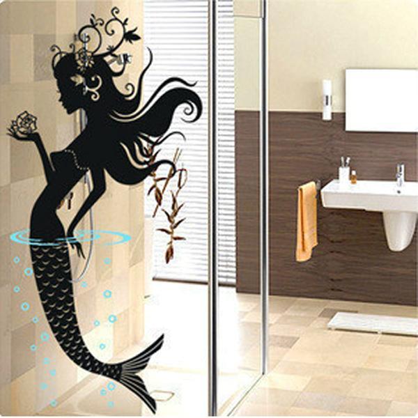 Diy Mermaid Wall Decor : Mermaid openwork wall stickers mural art decal wallpaper