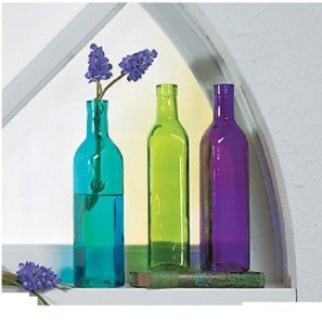 Long stem flower colored glass bottle vases or holiday for Colored bottles for decorations