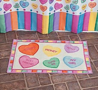 Colorful conversation hearts valentines complete bathroom for Complete bathroom decor sets