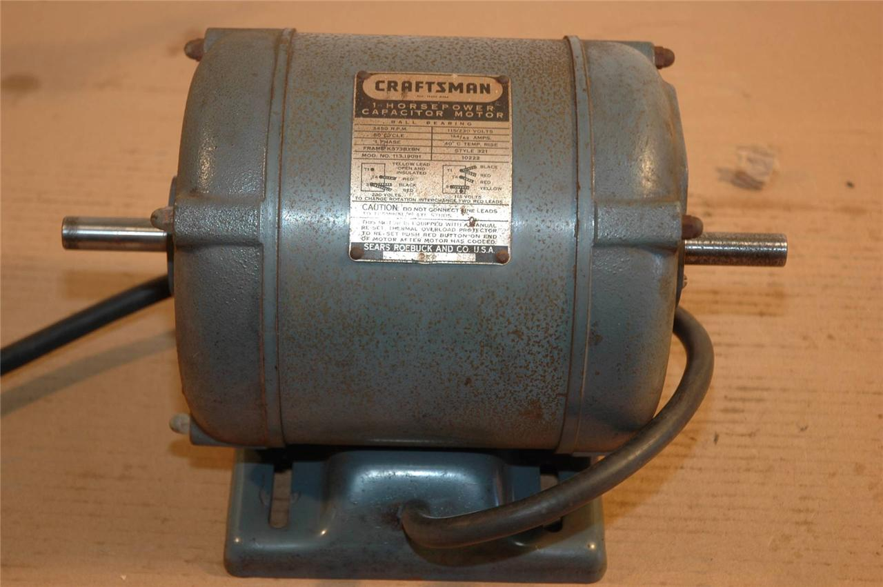 Vintage craftsman 1 h p table saw motor excellent dual for 1 hp table saw motor