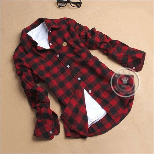 Women classic red black plaids flannel shirt button down Womens red plaid shirts blouses