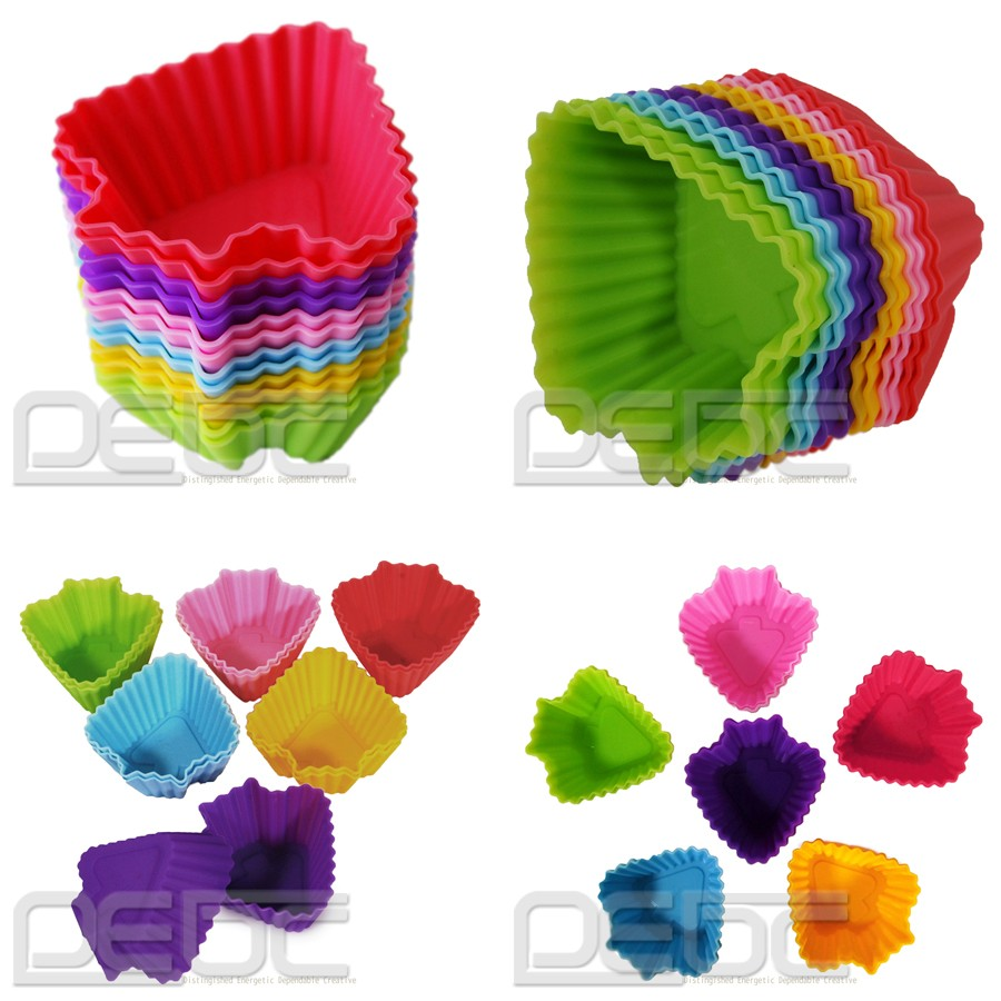 7 Shapes Silicone Cake Muffin Chocolate Cupcake Case Liner ...