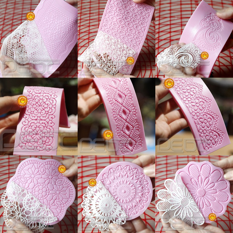 Cake Decorating Lace Pattern : Lace Shaped Silicone Mold Mould Fondant Cake Decoration ...