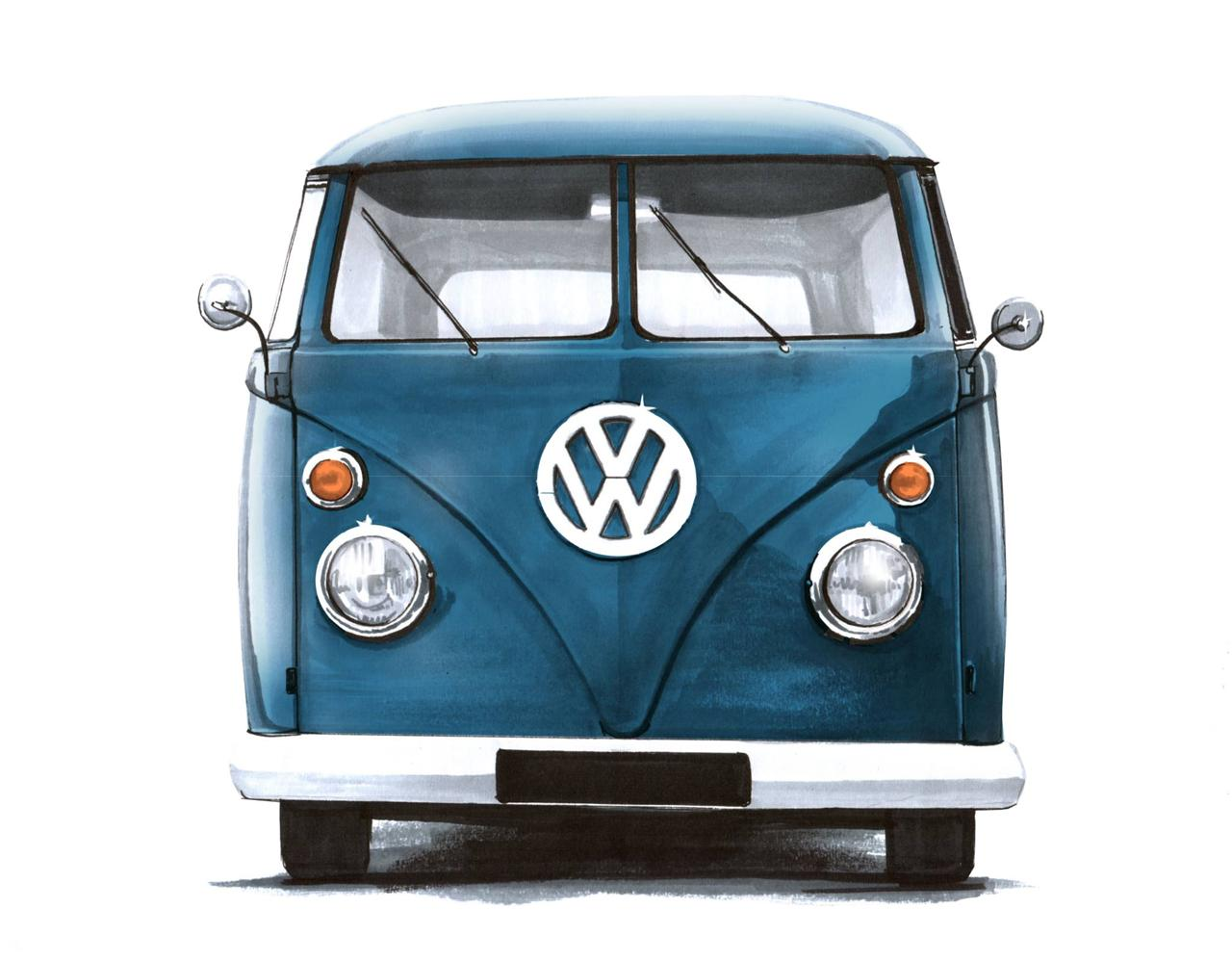 Greetings card VW Volkswagen Camper Beetle Van DIRECT FROM THE ARTIST