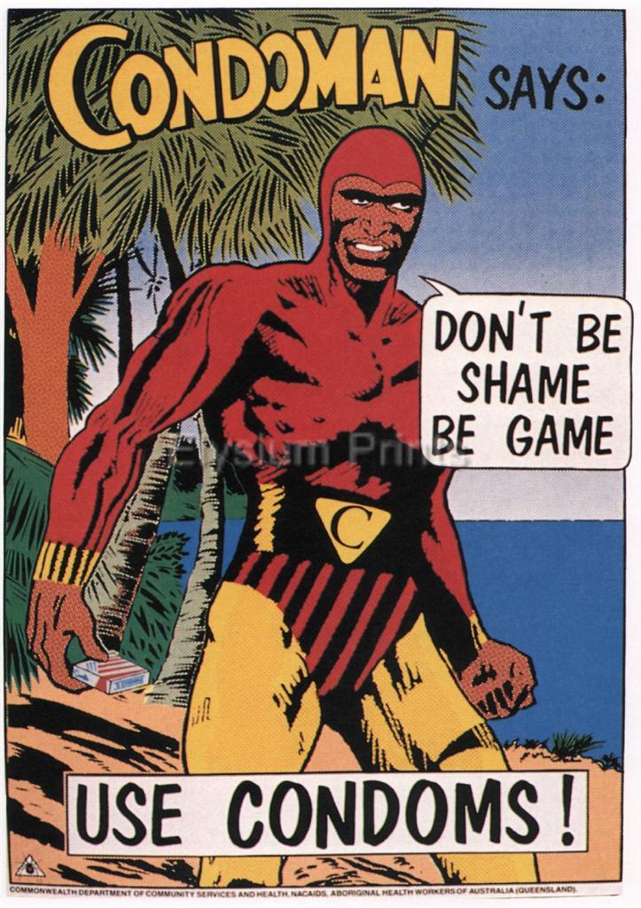 CONDOMAN-SAYS-DONT-BE-SHAME-BE-GAME-USE-CONDOMS-1987-Australia-SG2728