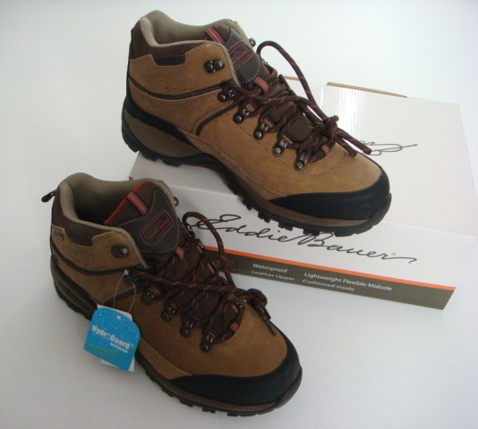 EDDIE BAUER New Brown Leather HydroGuard Waterproof Hiking Boots Shoes