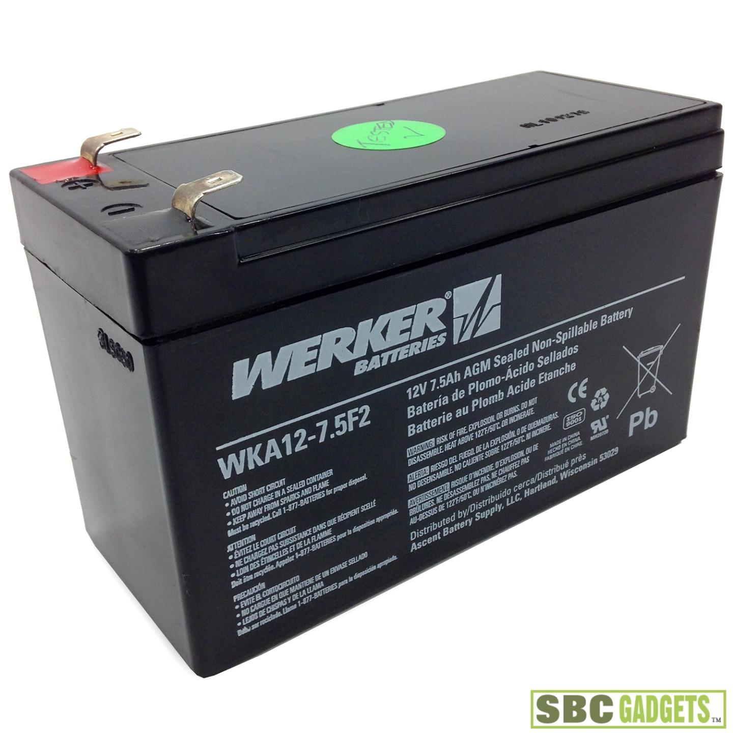 werker rechargable battery wka12 7 5f2 12v 7 5ah agm. Black Bedroom Furniture Sets. Home Design Ideas