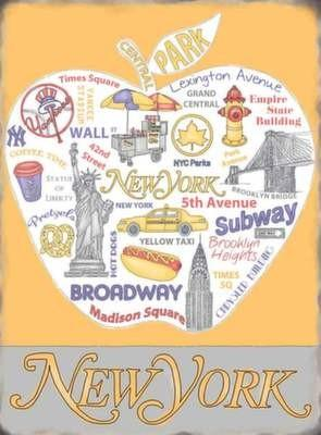 New york apple vue taxi jaune vintage small med gros for Decoration murale vue sur new york