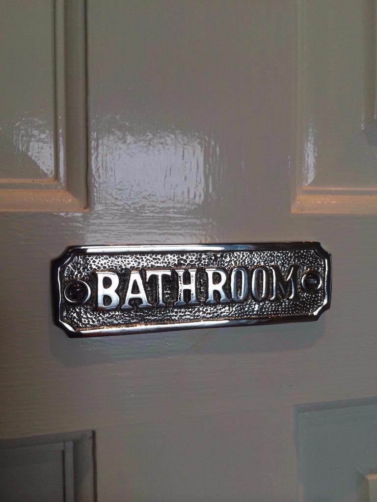 Toilet Bathroom Door Sign Plaque With Screws Solid Polished Brass Antique Nickel Ebay