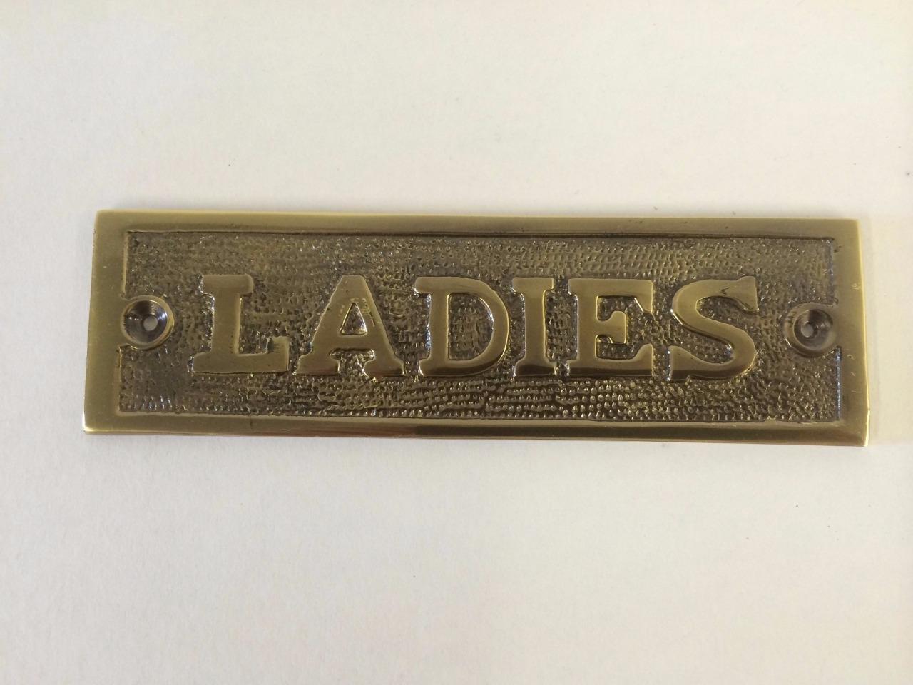 gentlemen ladies toilet bathroom door sign plaque screws brass antique nickel ebay. Black Bedroom Furniture Sets. Home Design Ideas