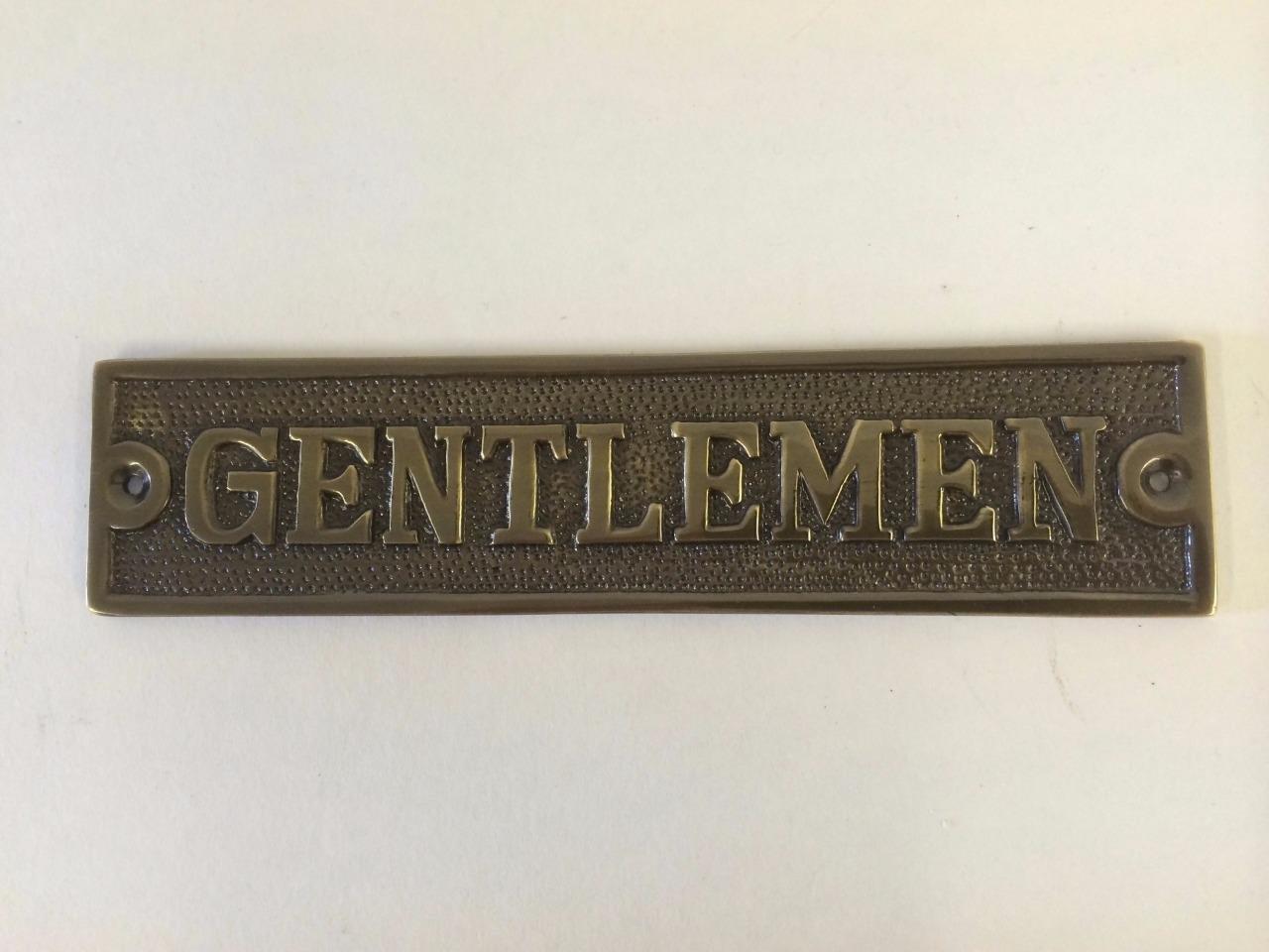 Gentlemen Ladies Toilet Bathroom Door Sign Plaque Screws Brass Antique Nickel Ebay