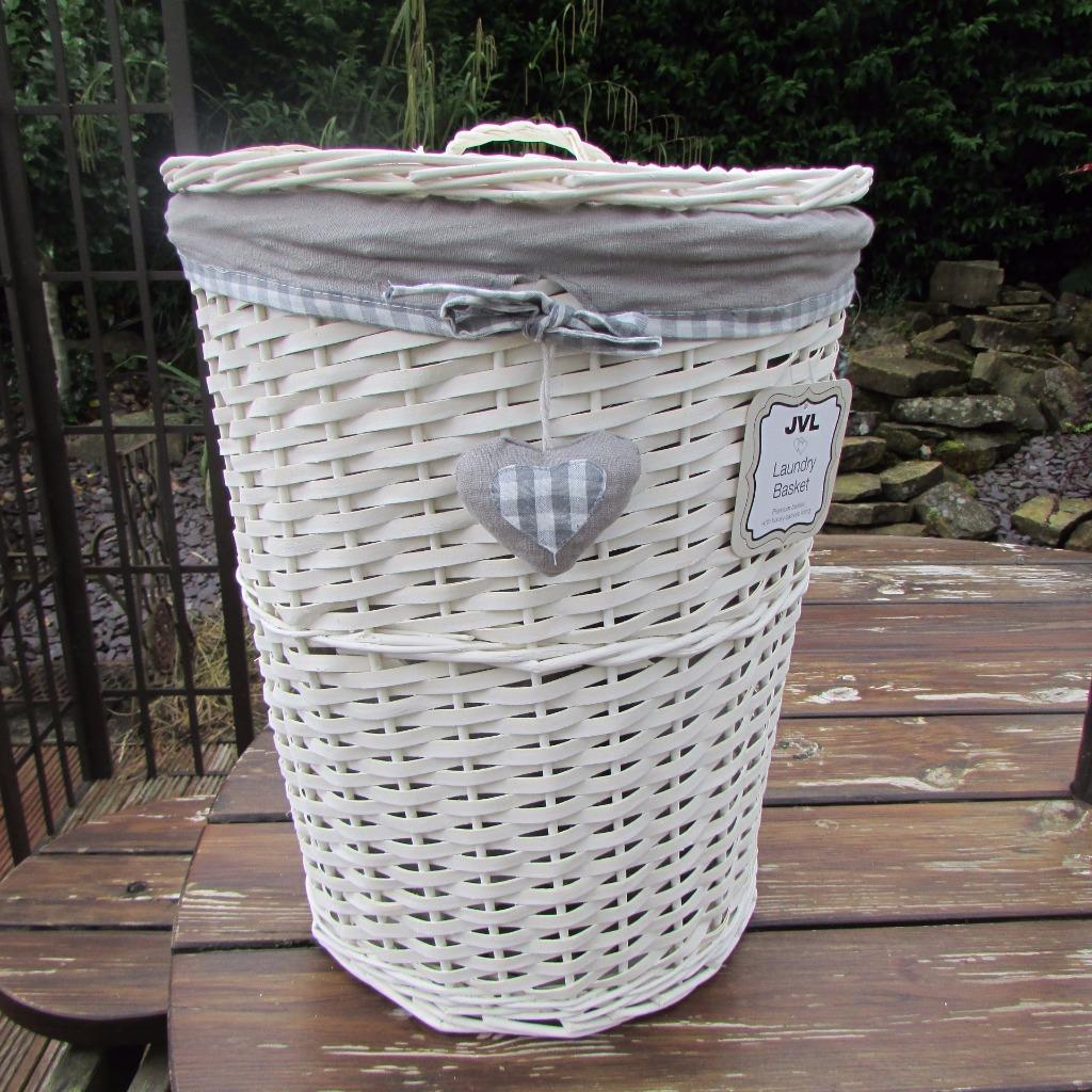Grey gingham heart white wicker laundry basket round linen White wicker washing basket