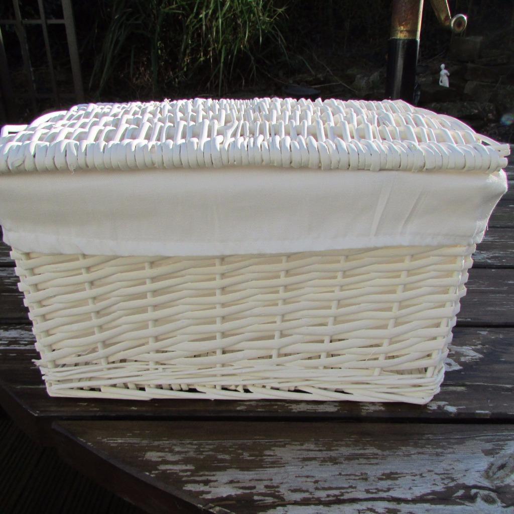 Wicker Basket With Hinged Lid : White wicker hamper basket hinged lid linen storage