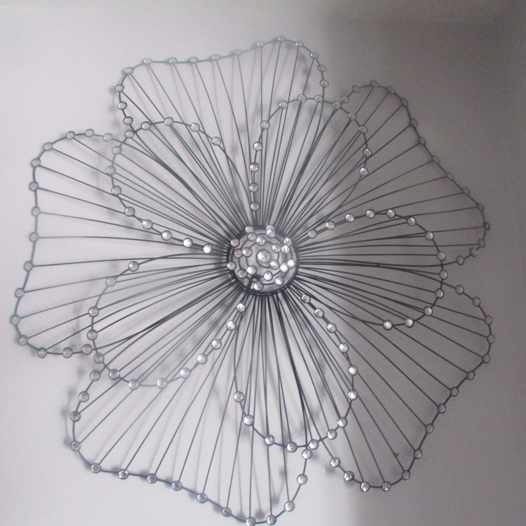 Extra large flower metal wall art black jewelled 86x83cm for Extra large wall art