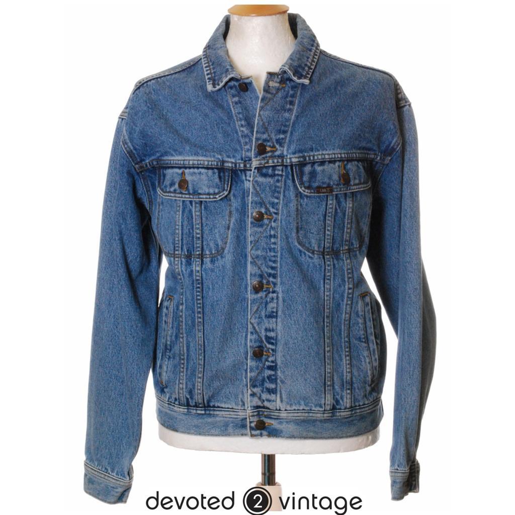 Vintage embroidered lee slim fit denim jean jacket large l
