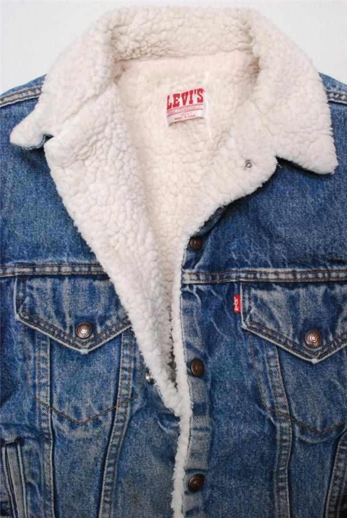 Vintage Levis Denim Sherpa Shearling Trucker Jacket Fur