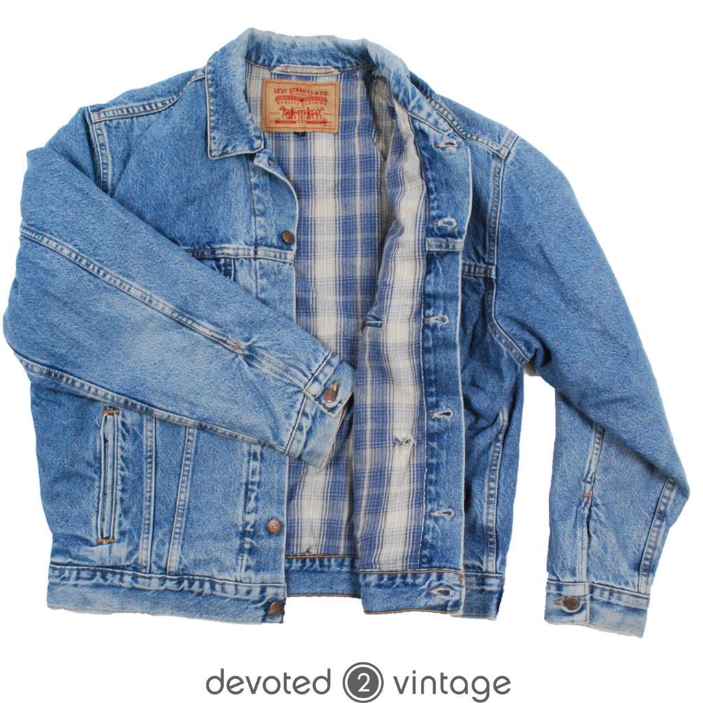 Vintage slouchy blanket lined levis denim jean jacket medium m ebay