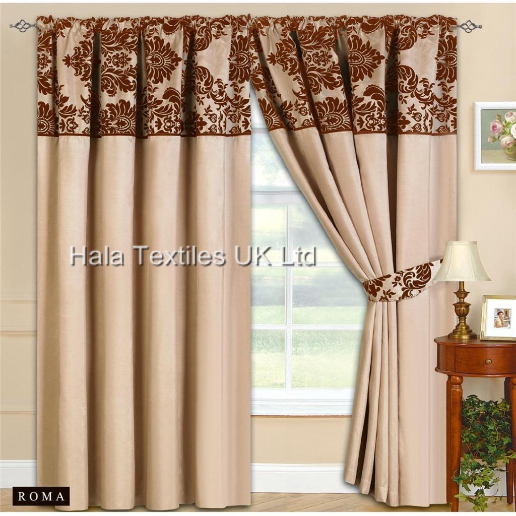 half flock pencil pleat curtain pair floral curtains 90x90. Black Bedroom Furniture Sets. Home Design Ideas