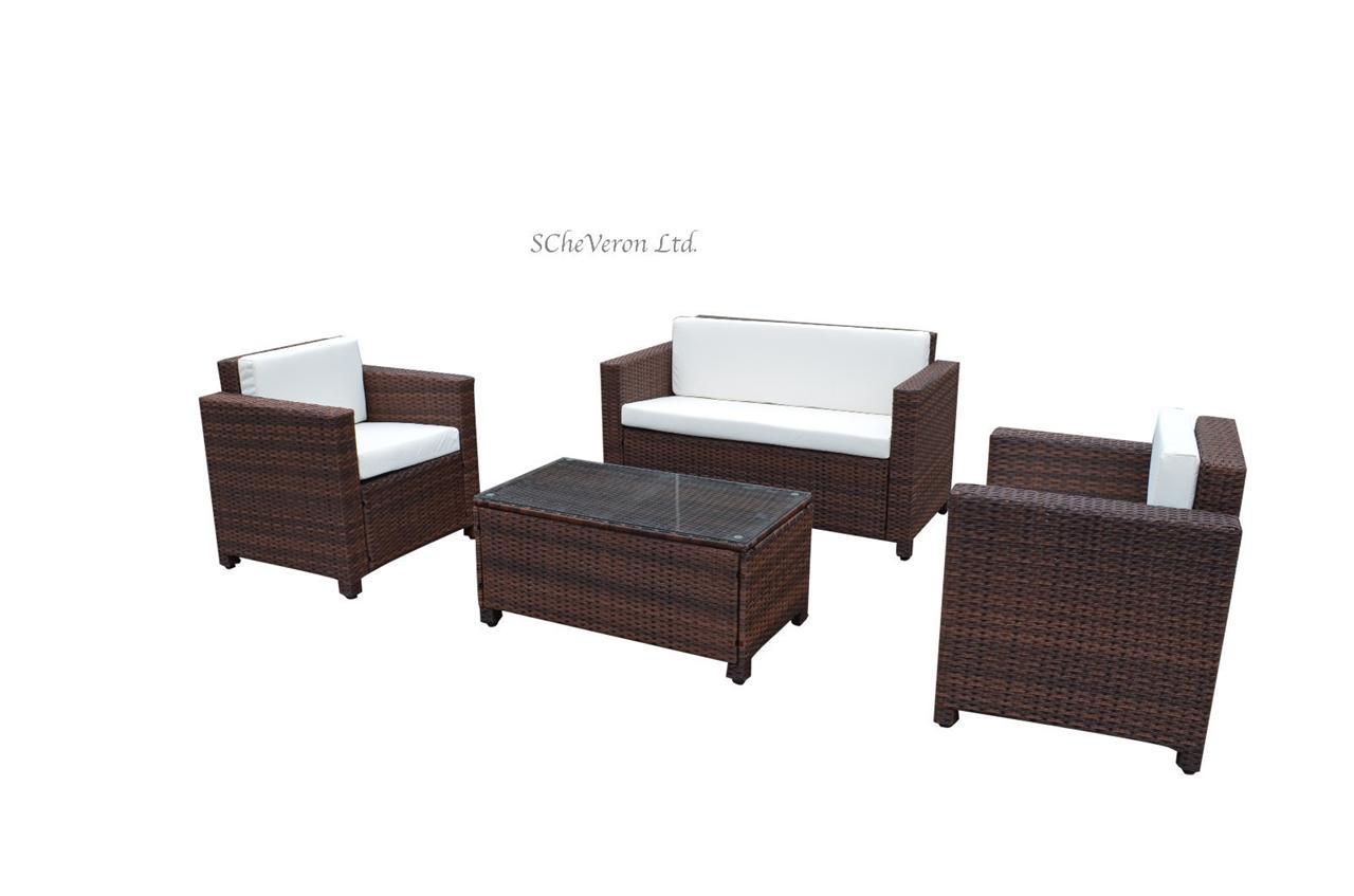 Luxurious 4Pcs Rome Rattan Wicker Garden Furniture Set Indoor Outdoor S