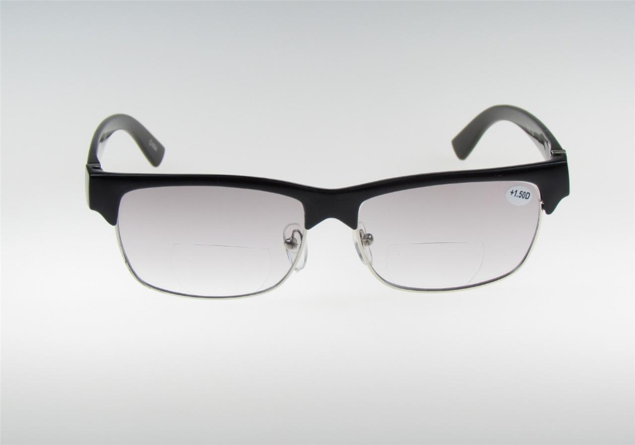 bifocal reading glasses light tint clubmaster 1 00 power