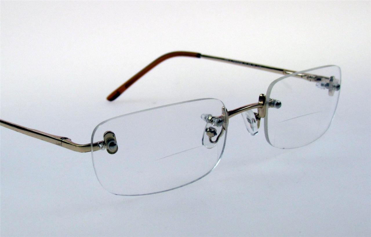 Rimless Bifocal Glasses : Rimless BIFOCAL Reading Glasses SPRING HINGES ...