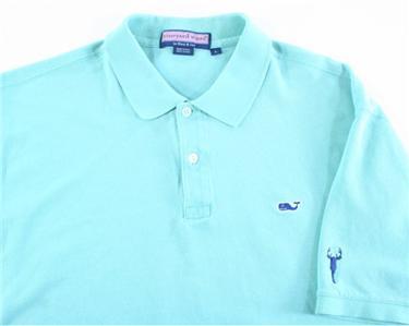 Vineyard vines mens whale logo light green polo golf shirt for Whale emblem on shirt