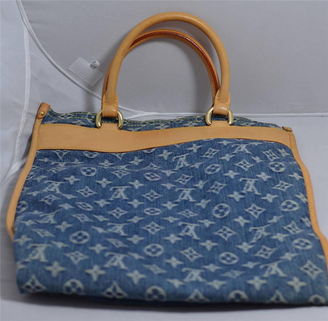 louis vuitton blue monogram denim flat shopper sac plat ebay. Black Bedroom Furniture Sets. Home Design Ideas
