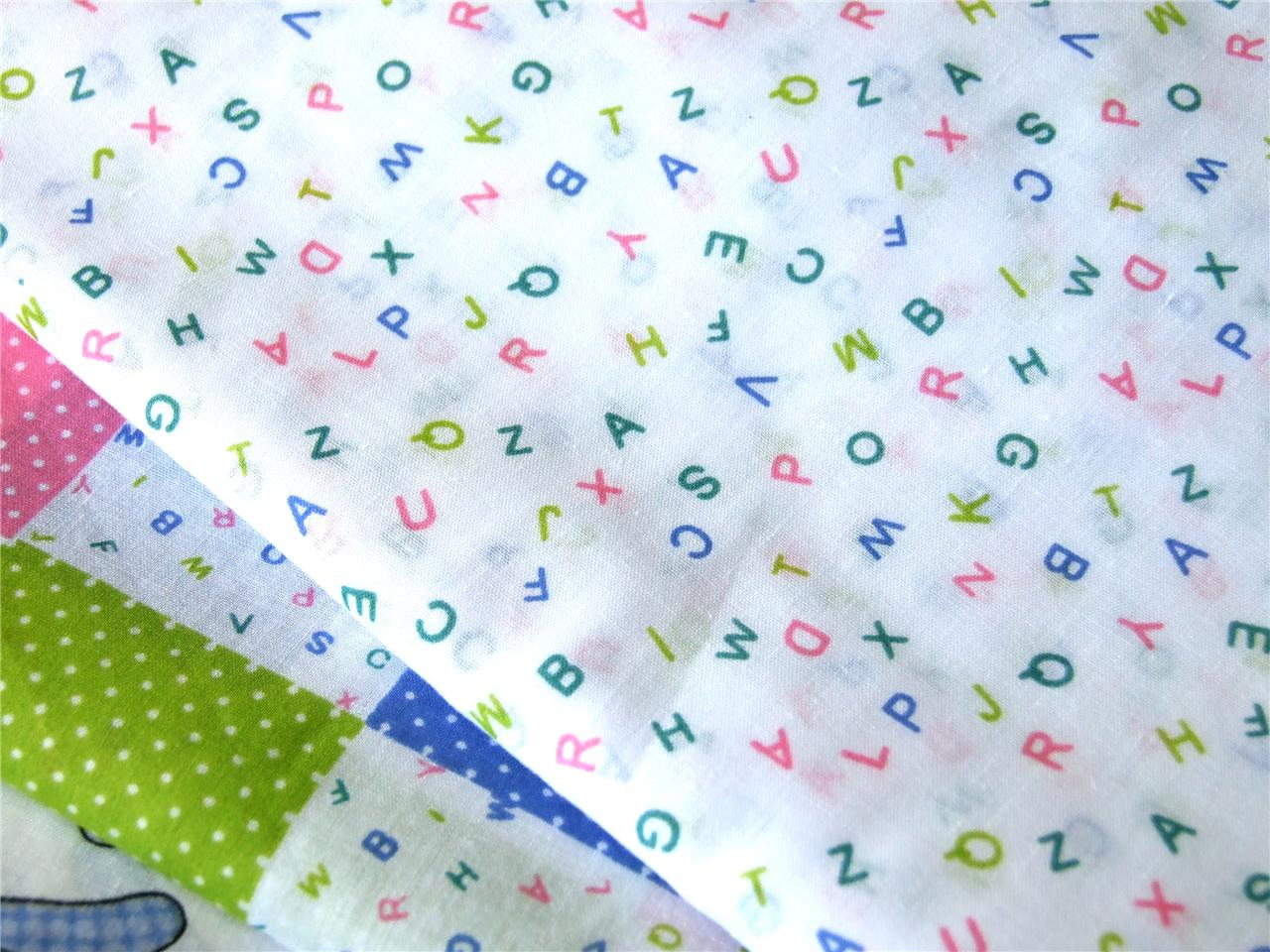 Baby nursery bears alphabet pink blue green polycotton for Nursery fabric