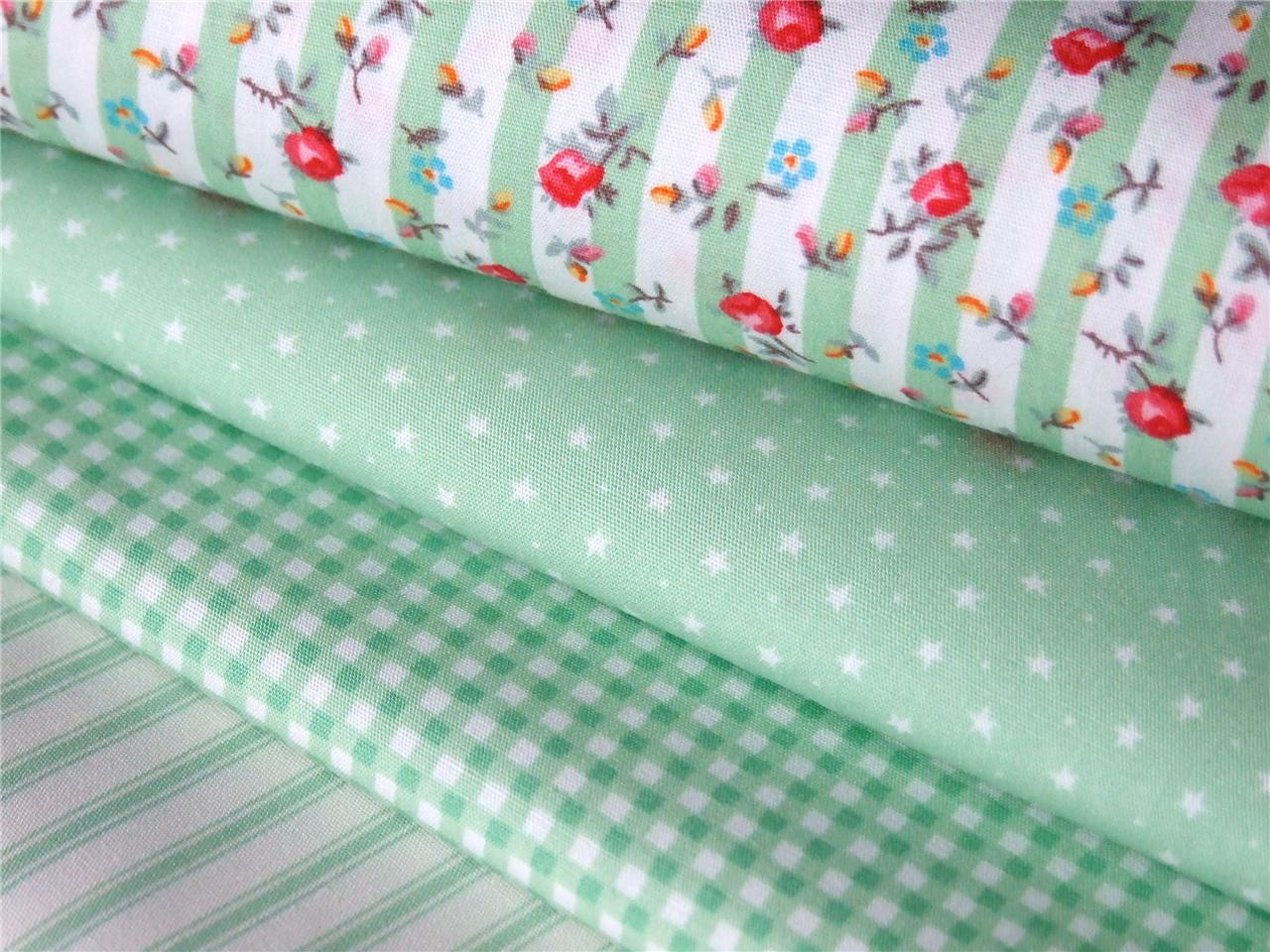 Mint green stripe floral star check 100 cotton fabric for for Dressmaking fabric