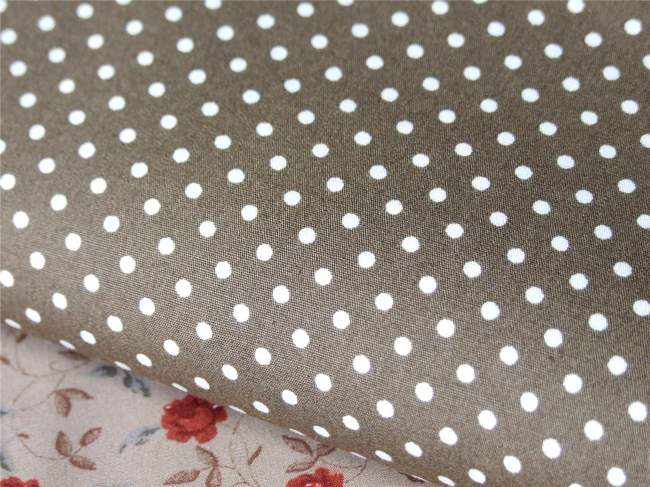 100% cotton BROWN BEIGE TAN Spots 3mm dotty FABRIC dress craft quilting bunting