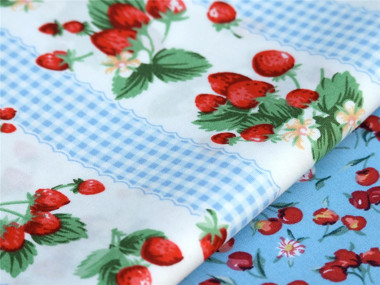 BLUE-STRAWBERRY-gingham-stripe-PURE-COTTON-country-chic-craft-patchwork-bunting