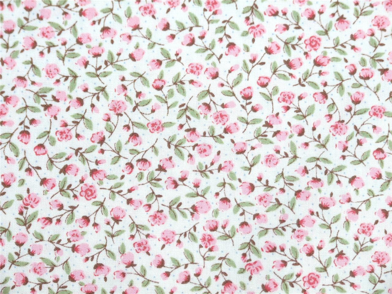 Pure cotton fabric PINK FLOWER FLORAL SPOT shabby chic patchwork dress buntin
