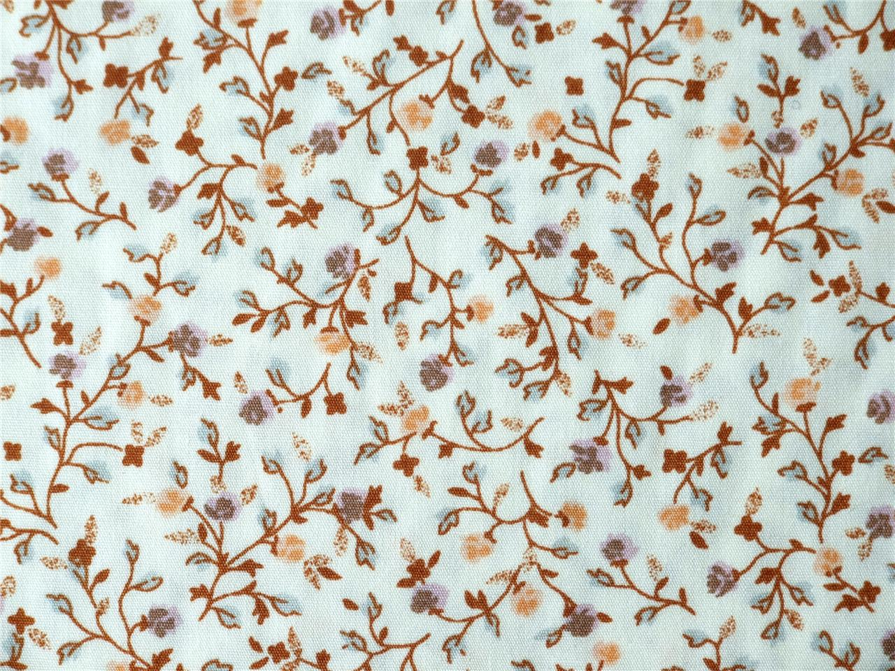 Beige-Brown-Tan-Cream-floral-stripes-spot-Vintage-100-COTTON-FABRIC-dress-craft