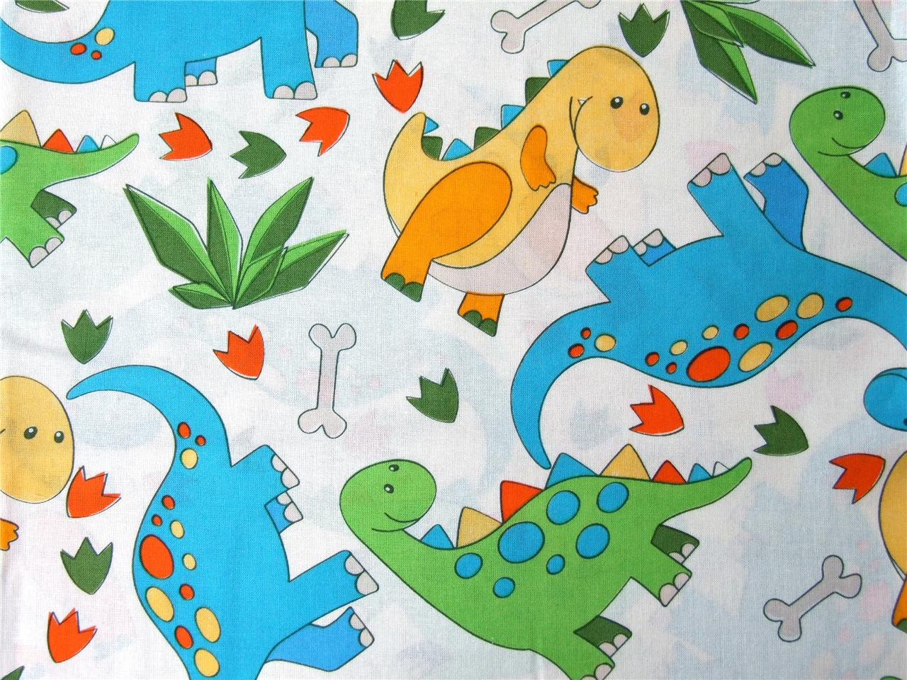 Dinosaurs bright fun kids nursery 100 cotton fabric for for Bright childrens fabric