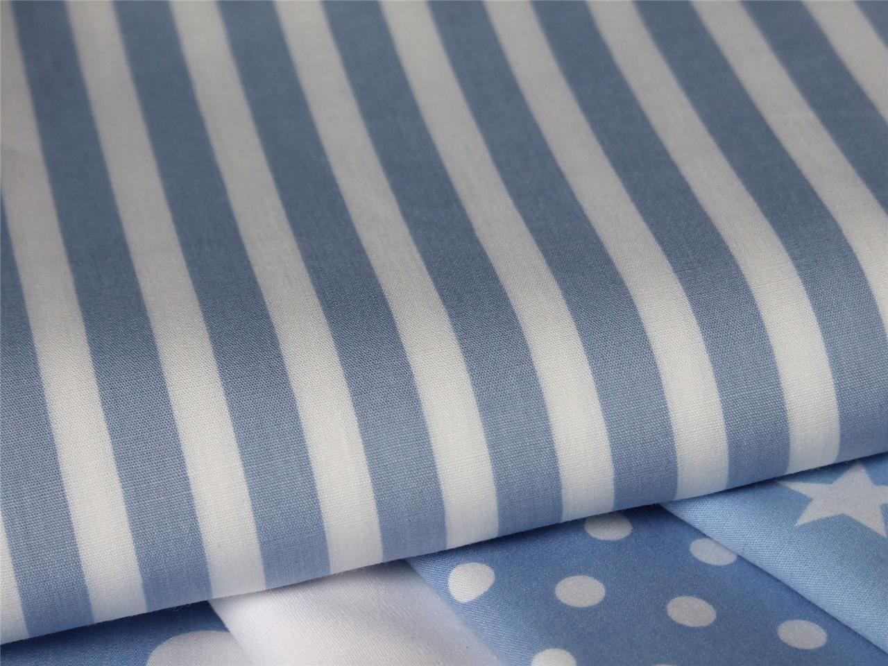 Pale blue white star stripe spot boys kids 100 cotton for Boys cotton fabric