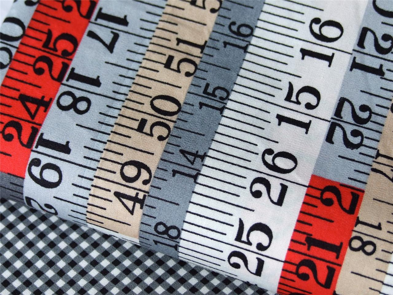 GREY RED BEIGE TAPE MEASURE CHECK SPOT 100% COTTON fabric for patchwork bunting