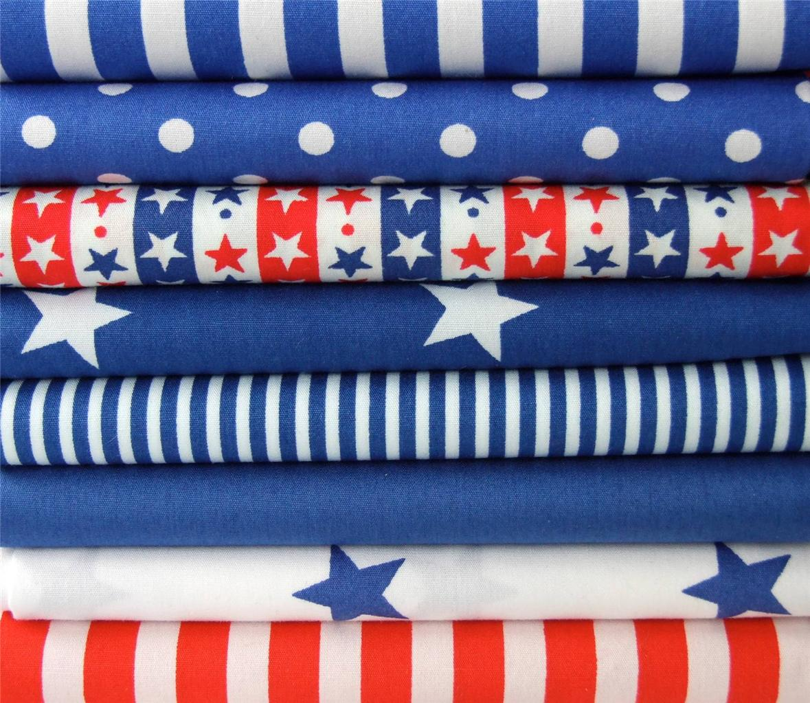 ROYAL-BLUE-white-RED-STARS-STRIPES-SPOTS-100-COTTON-FABRIC-for-crafts-bunting