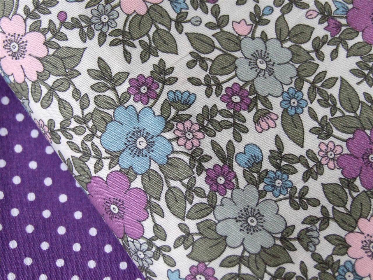Purple Lilac Floral on Ivory retro 100% COTTON for craft dressmaking patchwork