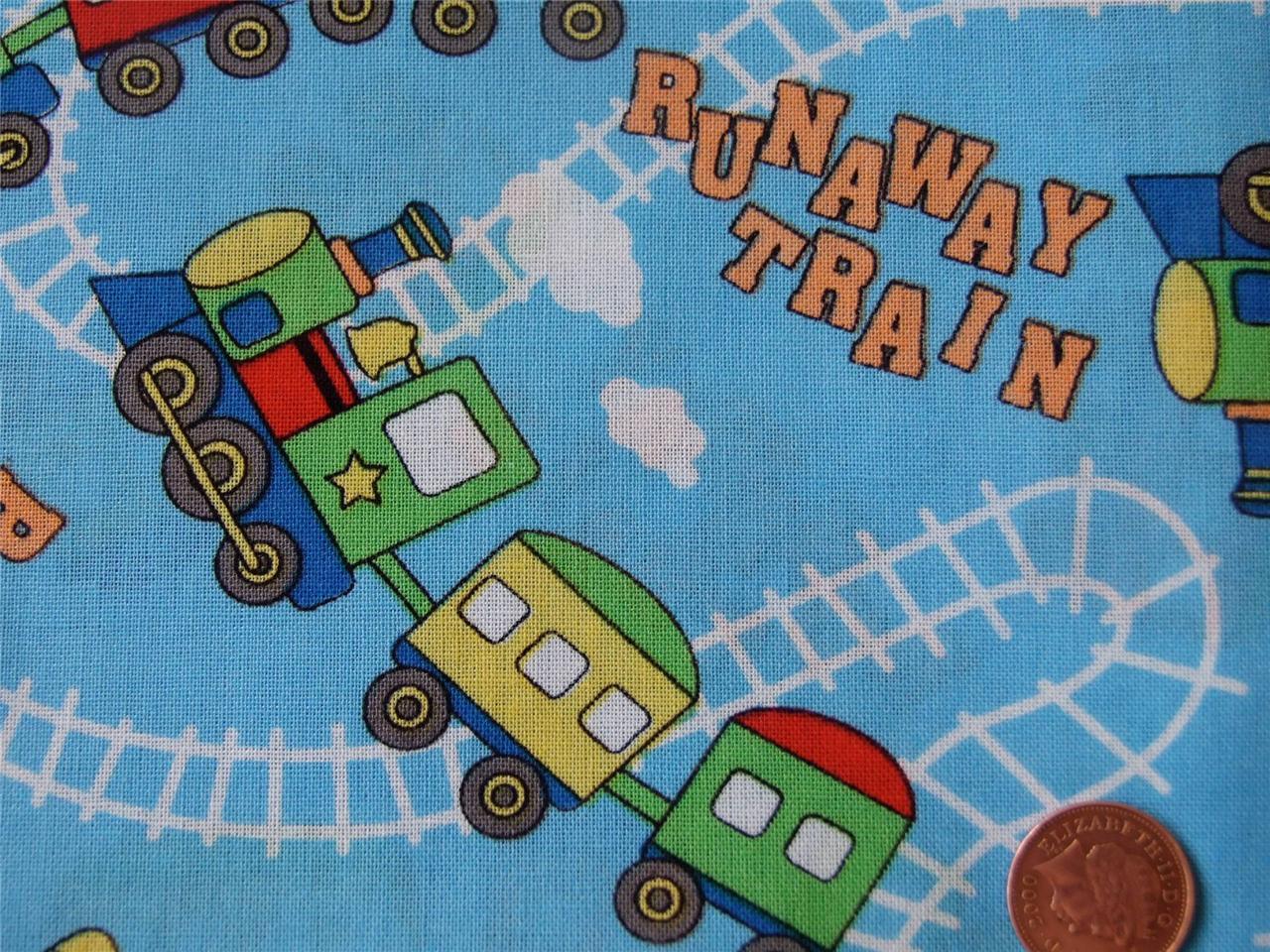 Blue kids trains fun nursery boys 100 cotton fabric for Kids train fabric