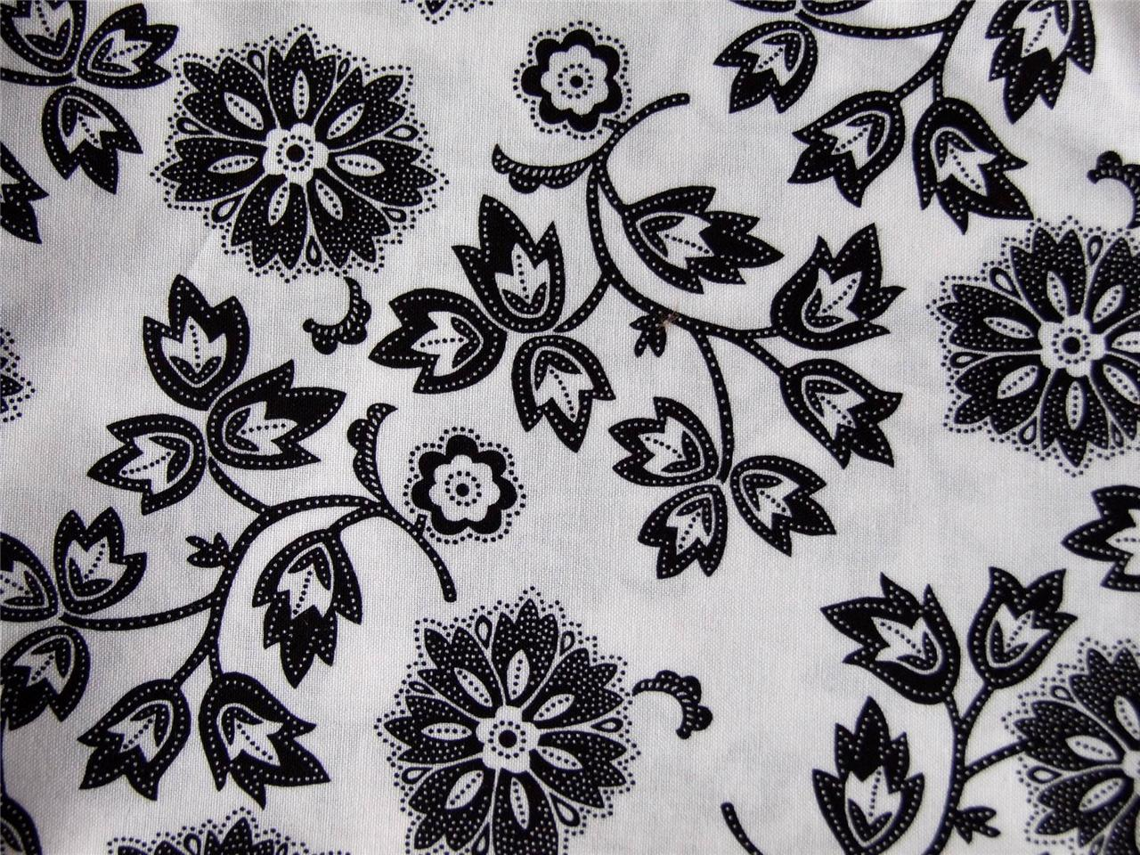 red black white filigree floral 100 cotton fabric material craft