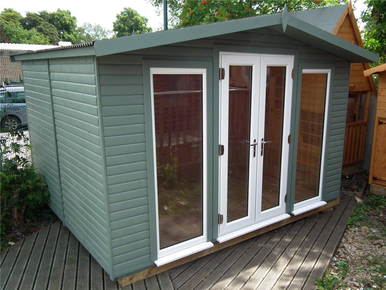 Garden room office wooden cabin insulated log cabin ebay for Log cabin sunrooms