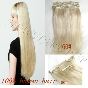 platinum blonde 60 clip in human hair extensions 7pcs 70g