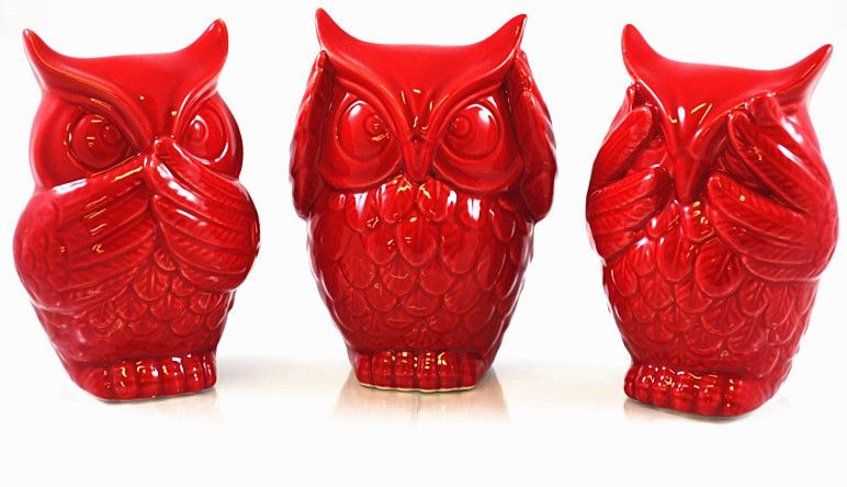 3pcs set red ceramic owl see hear speak no evil statue ornament home decor gifts ebay - Hear no evil owls ceramic ...