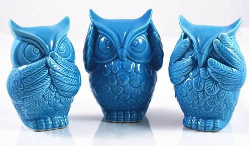 3pcs set blue ceramic owl see hear speak no evil statue ornament home decor - Hear no evil owls ceramic ...