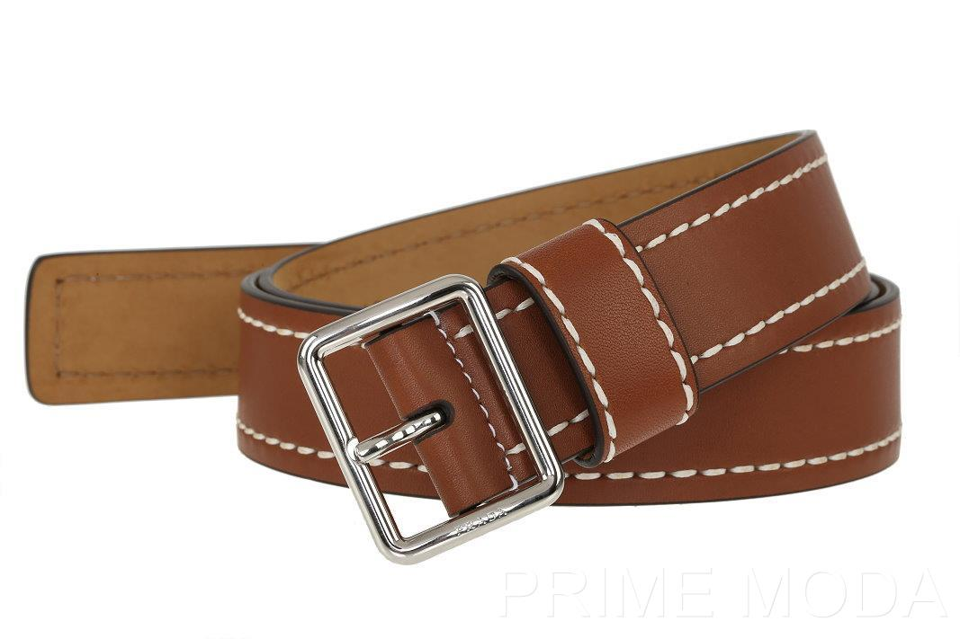 New Prada Milano Luxury White Stitching Brown Leather Logo Buckle ...