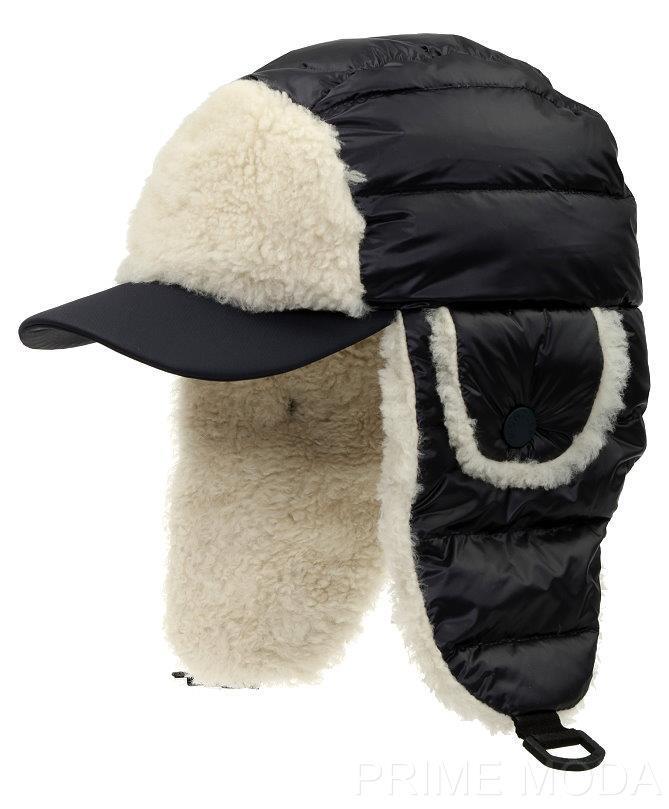 new moncler grenoble luxury trapper aviator logo down sheep shearling fur hat l ebay. Black Bedroom Furniture Sets. Home Design Ideas