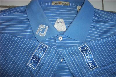 Peter millar titleist footjoy golf shirt mens large blue for Footjoy shirts with titleist logo