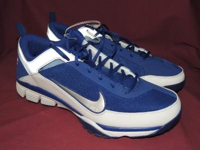 Nike Air Air Elite Pre game baseball training shoes white blue silver